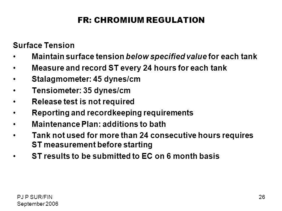 FR: CHROMIUM REGULATION