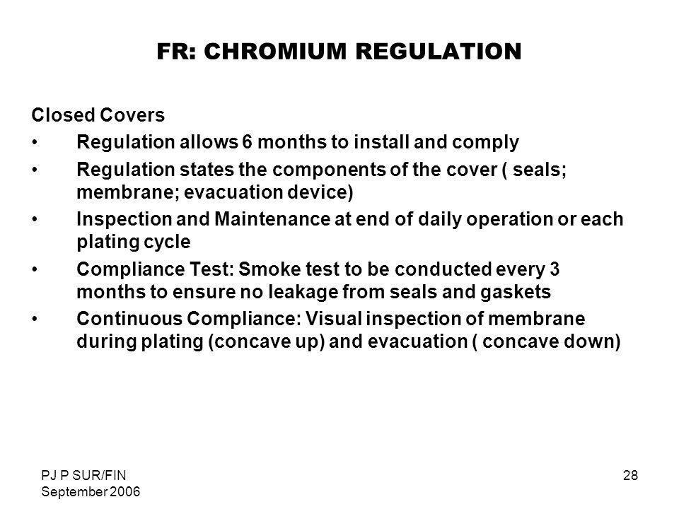 FR: CHROMIUM REGULATION
