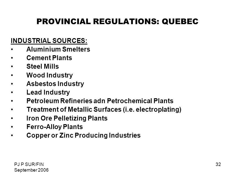 PROVINCIAL REGULATIONS: QUEBEC