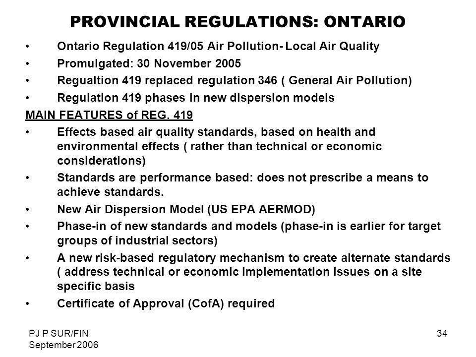 PROVINCIAL REGULATIONS: ONTARIO