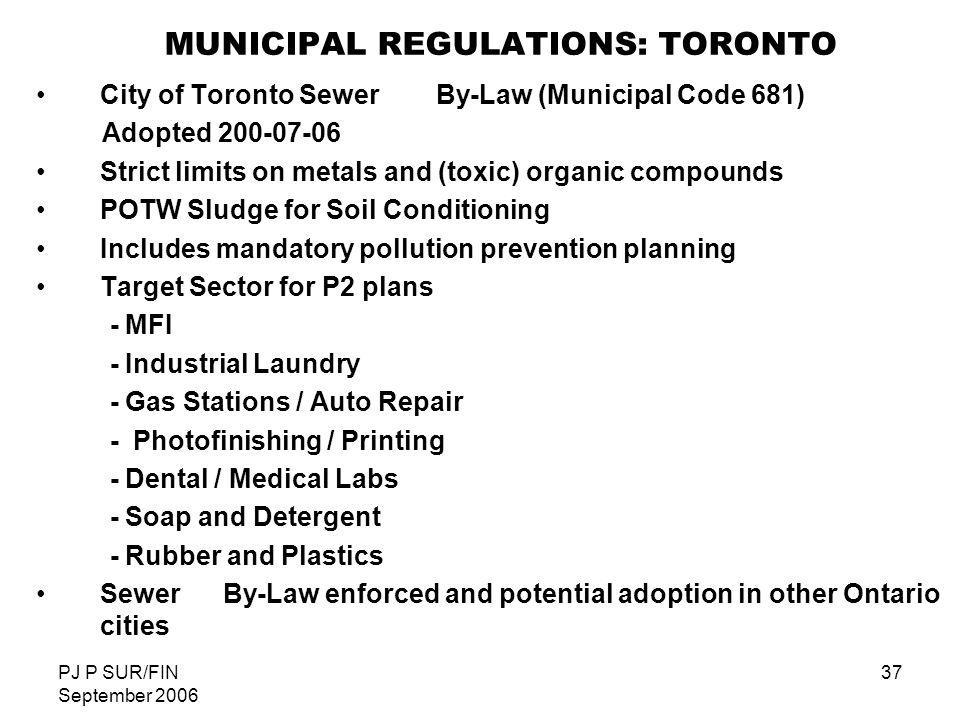 MUNICIPAL REGULATIONS: TORONTO