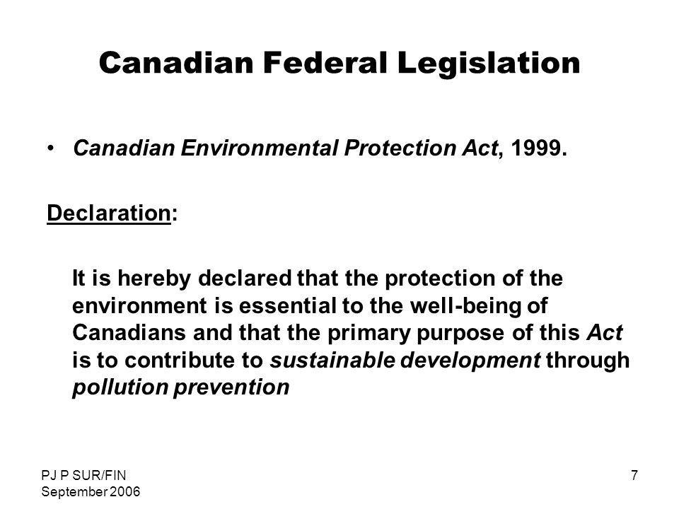 Canadian Federal Legislation