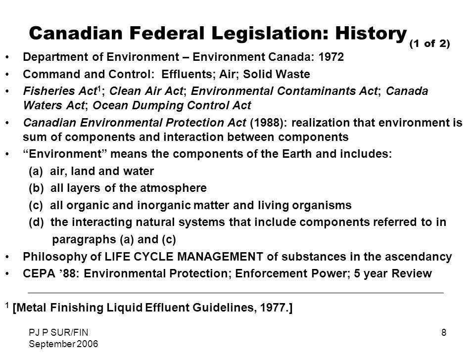 Canadian Federal Legislation: History