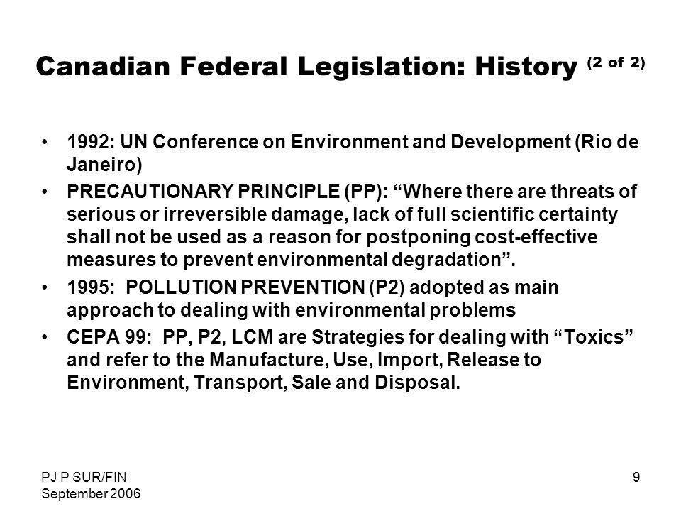 Canadian Federal Legislation: History