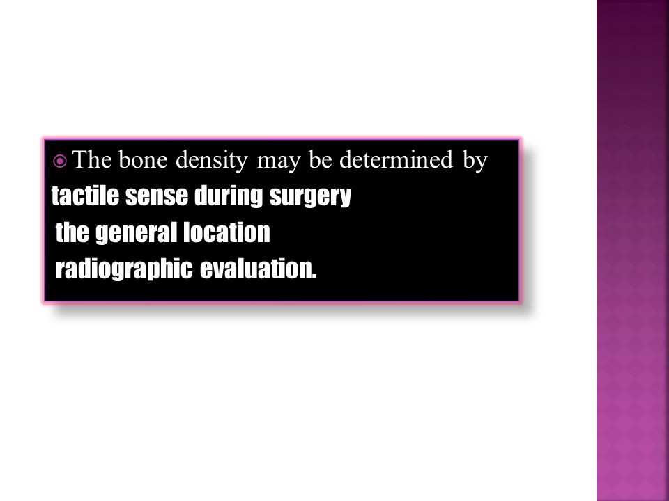 The bone density may be determined by