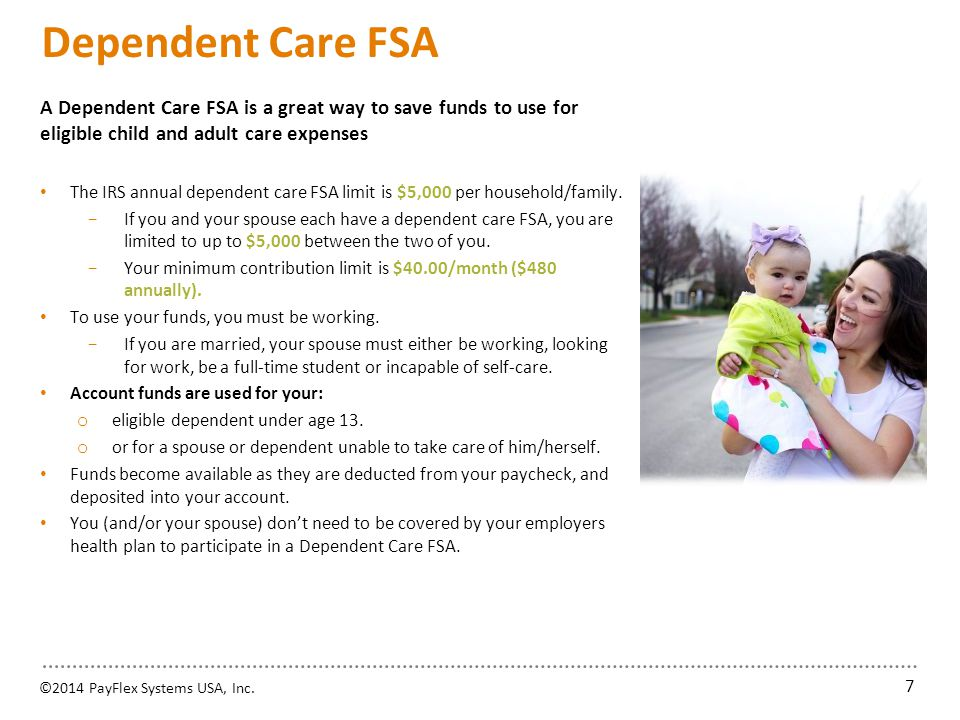 Dependent Care FSA Some common eligible expenses include: