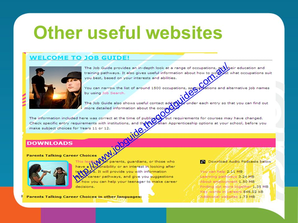 Other useful websites http://www.jobguide.thegoodguides.com.au/