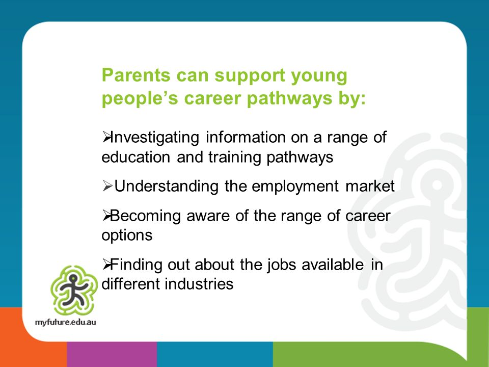 Parents can support young people's career pathways by: