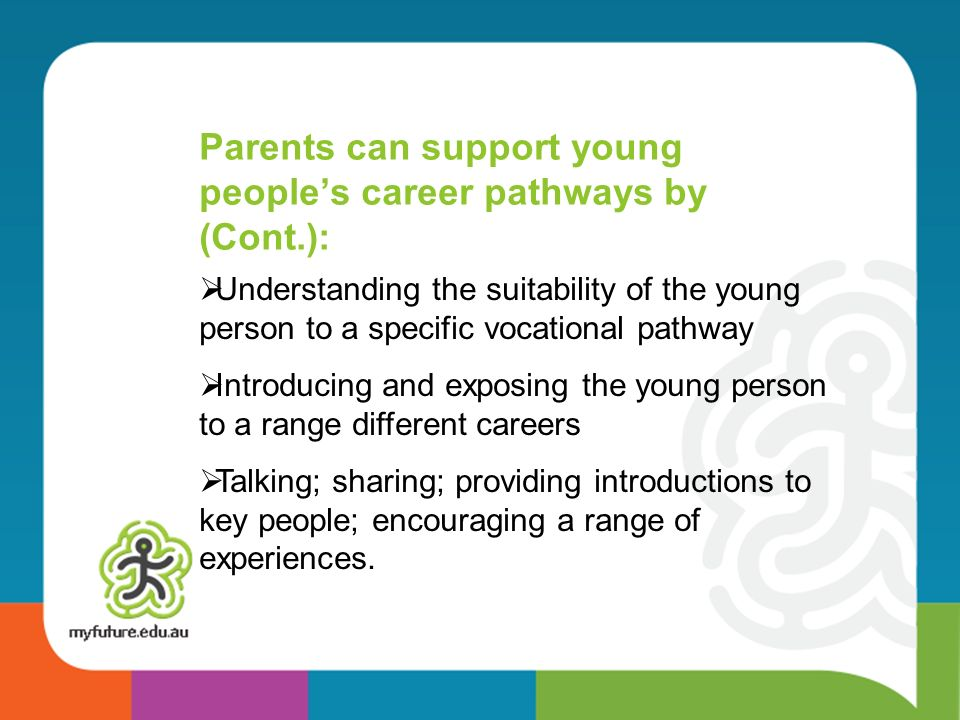 Parents can support young people's career pathways by (Cont.):