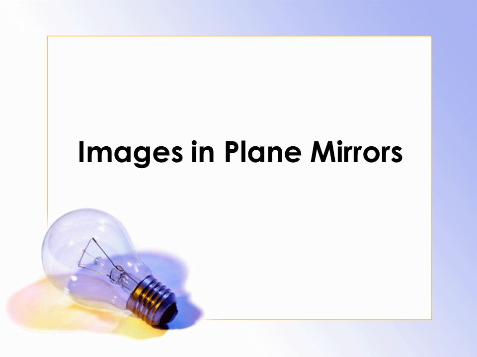 Images in Plane Mirrors