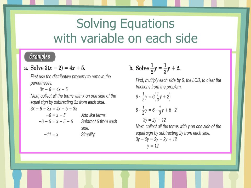 Solving Equations with variable on each side