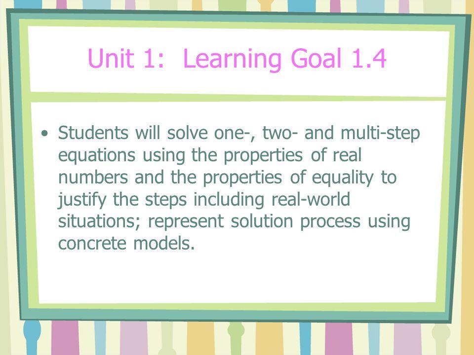 Unit 1: Learning Goal 1.4