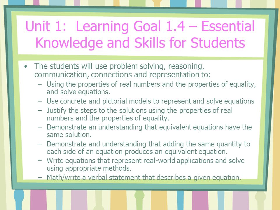 Unit 1: Learning Goal 1.4 – Essential Knowledge and Skills for Students