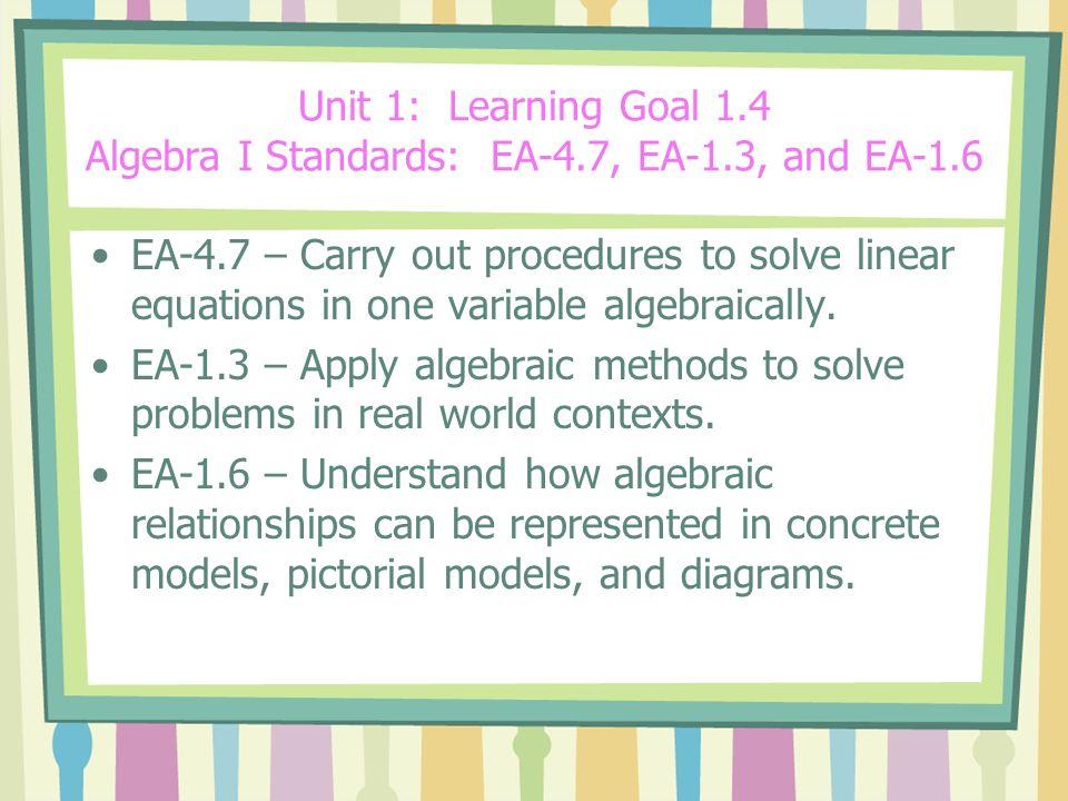 Unit 1: Learning Goal 1. 4 Algebra I Standards: EA-4. 7, EA-1
