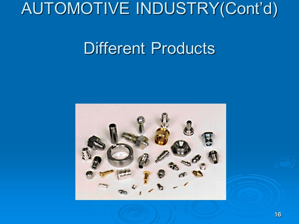AUTOMOTIVE INDUSTRY(Cont'd) Different Products
