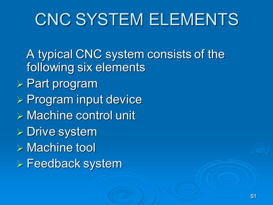 CNC SYSTEM ELEMENTS A typical CNC system consists of the following six elements. Part program. Program input device.