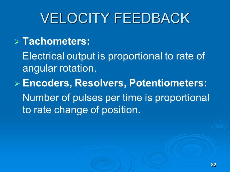 VELOCITY FEEDBACK Tachometers: