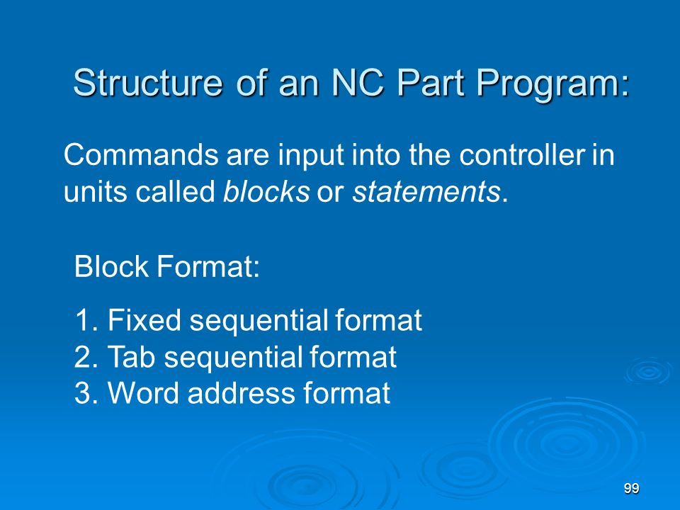 Structure of an NC Part Program: