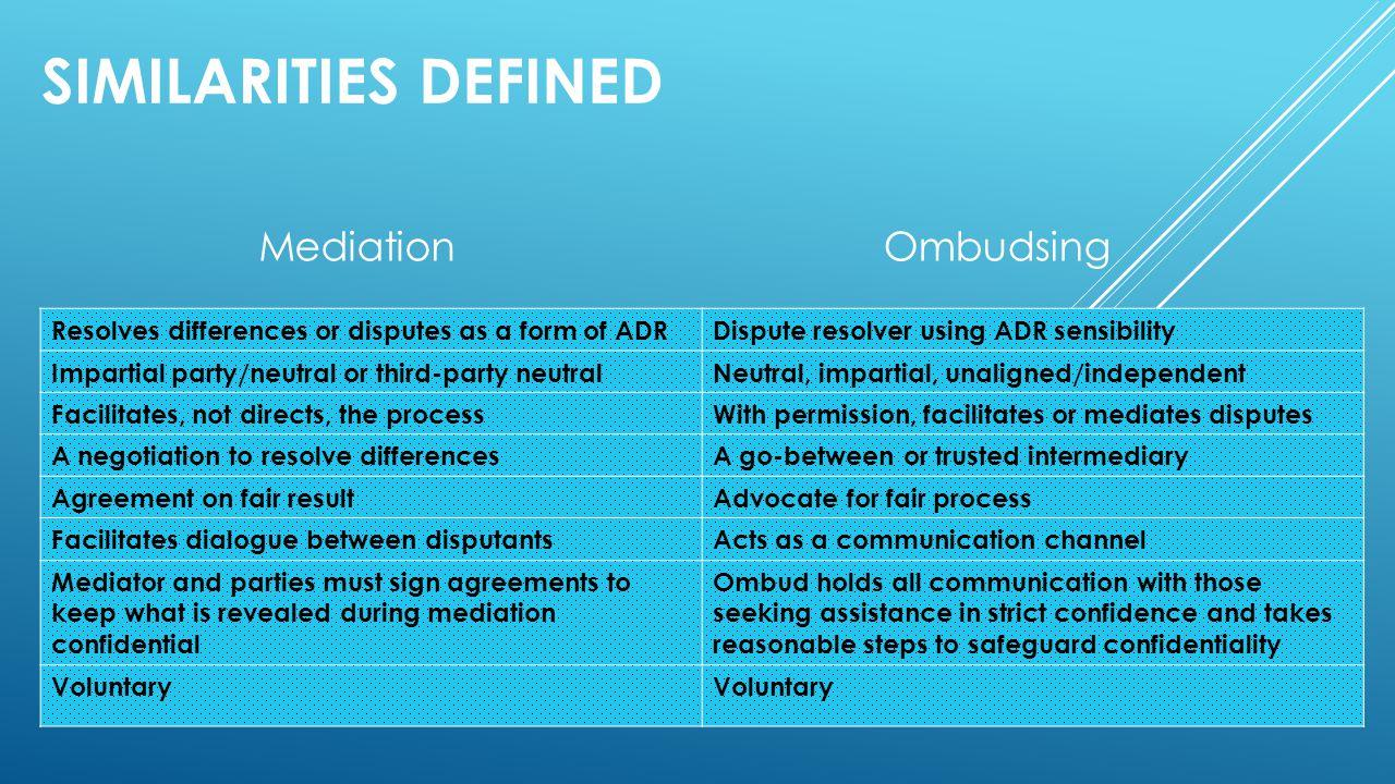 Similarities defined Mediation Ombudsing