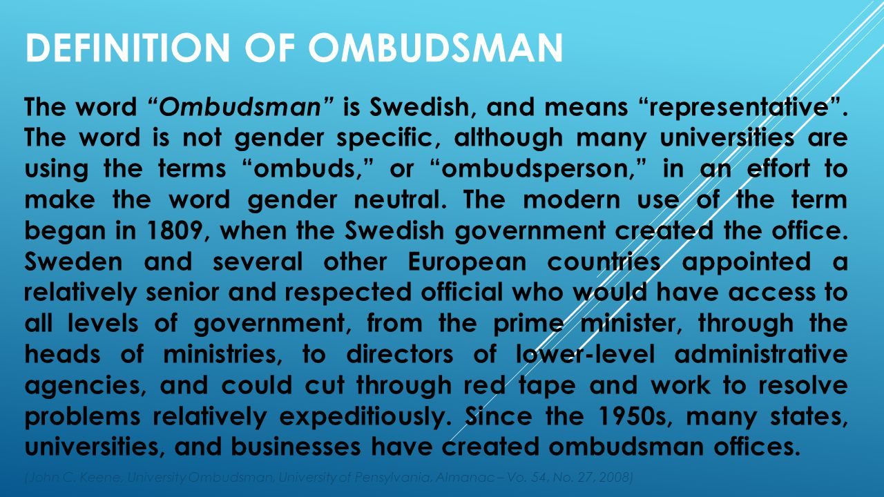 Definition of Ombudsman