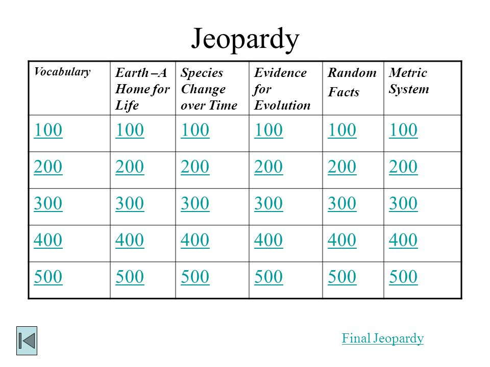 Jeopardy 100 200 300 400 500 Earth –A Home for Life