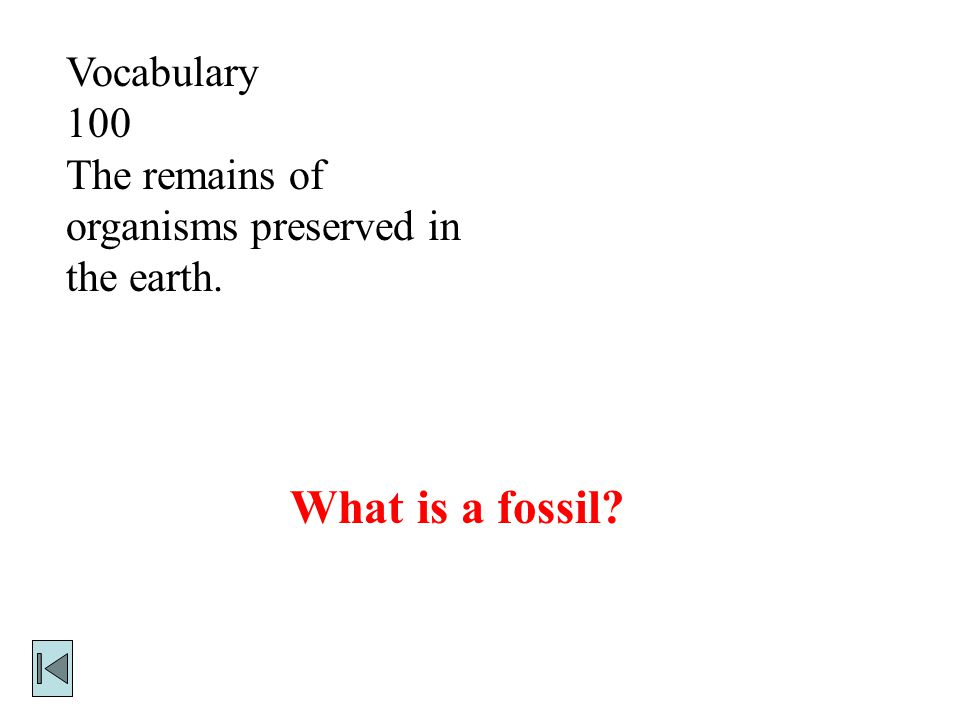 What is a fossil Vocabulary 100