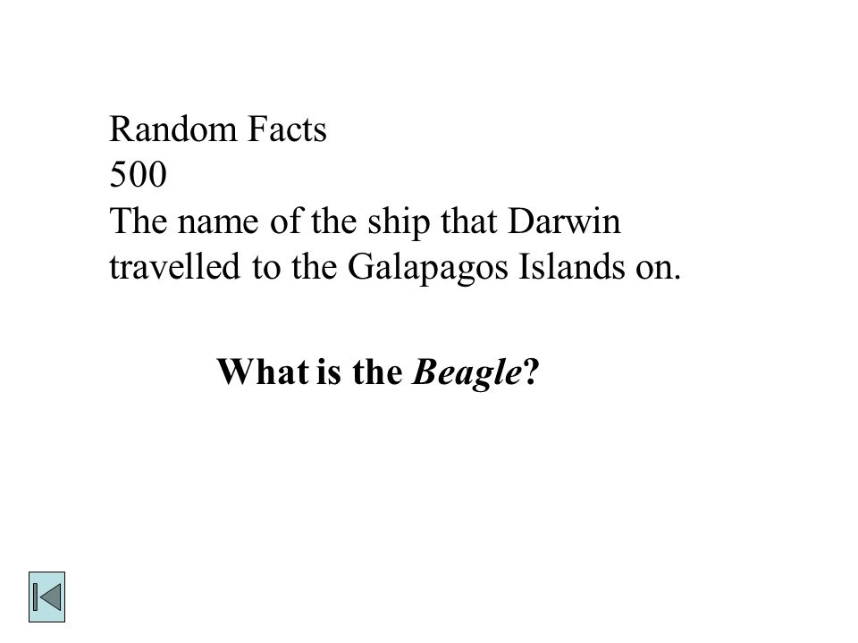 Random Facts 500. The name of the ship that Darwin travelled to the Galapagos Islands on.