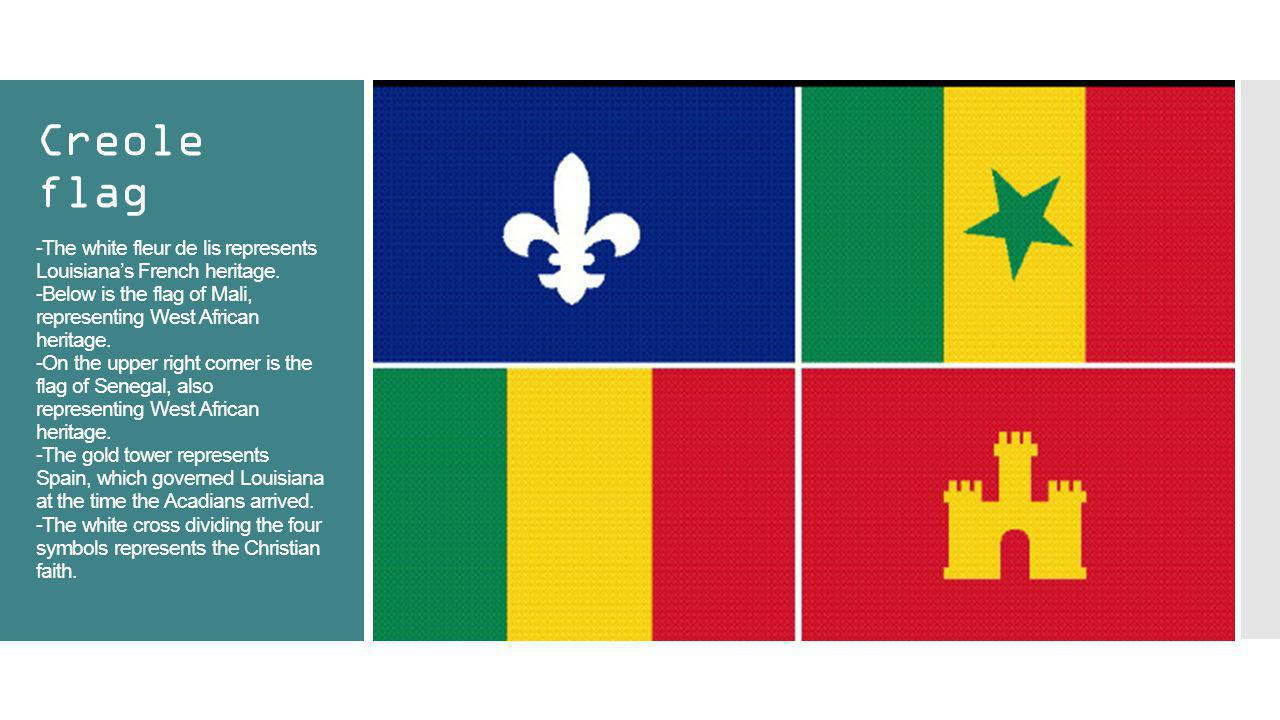 Creole flag -The white fleur de lis represents Louisiana's French heritage.