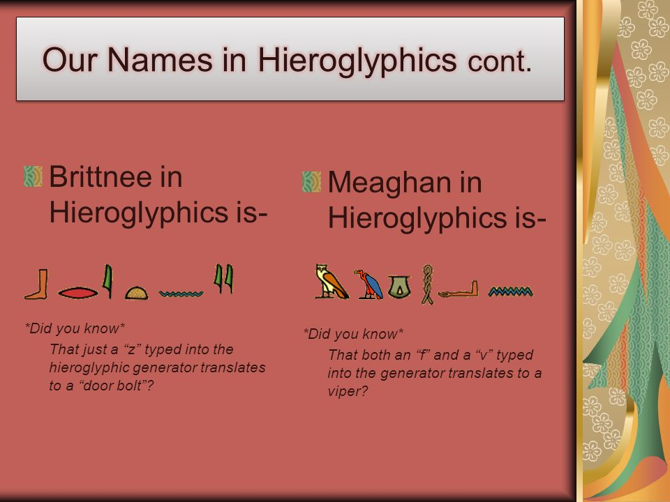 Our Names in Hieroglyphics cont.