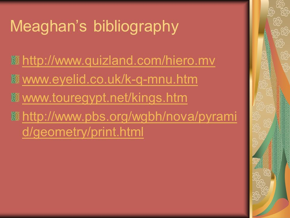 Meaghan's bibliography