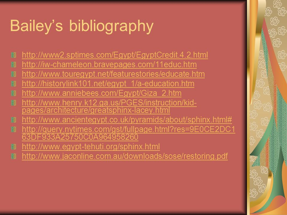 Bailey's bibliography