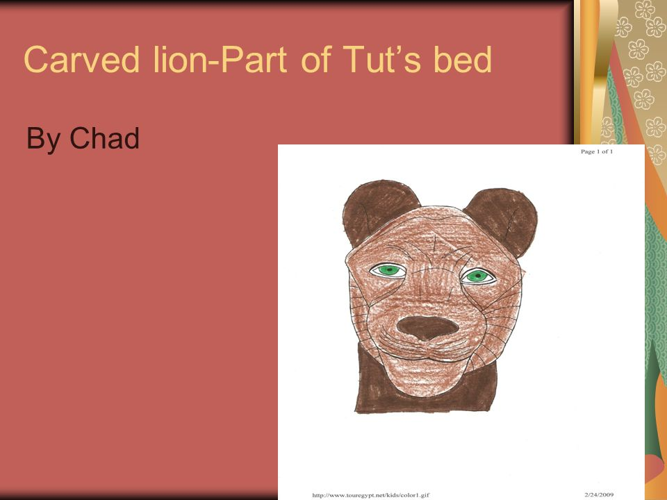 Carved lion-Part of Tut's bed