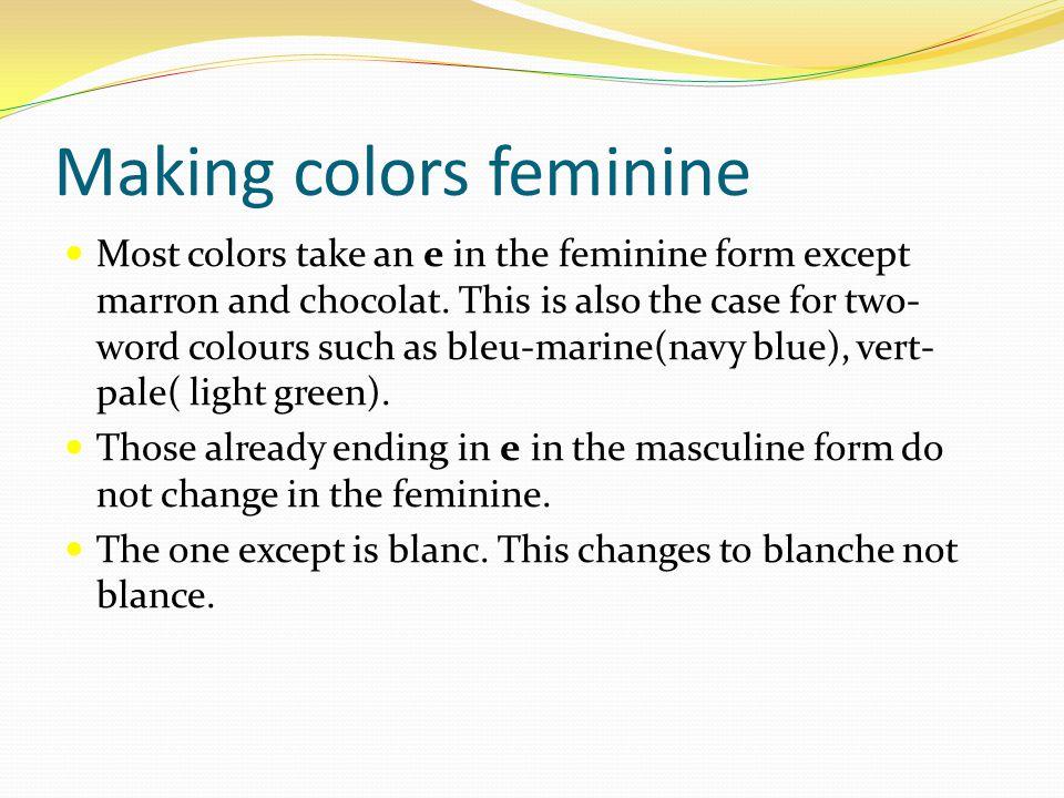 Making colors feminine