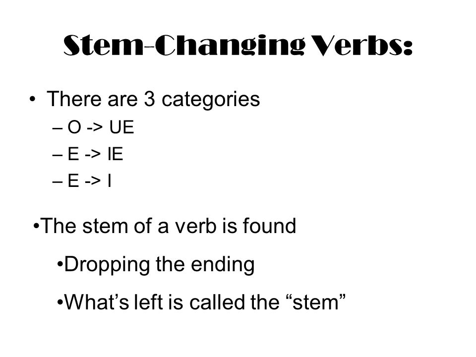 Stem-Changing Verbs: There are 3 categories