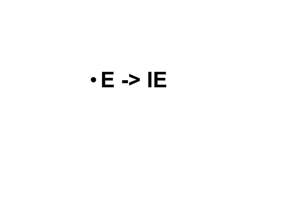E -> IE