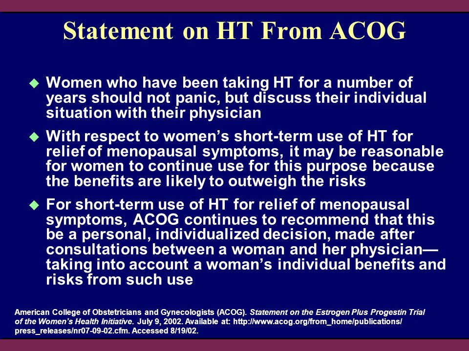Statement on HT From ACOG