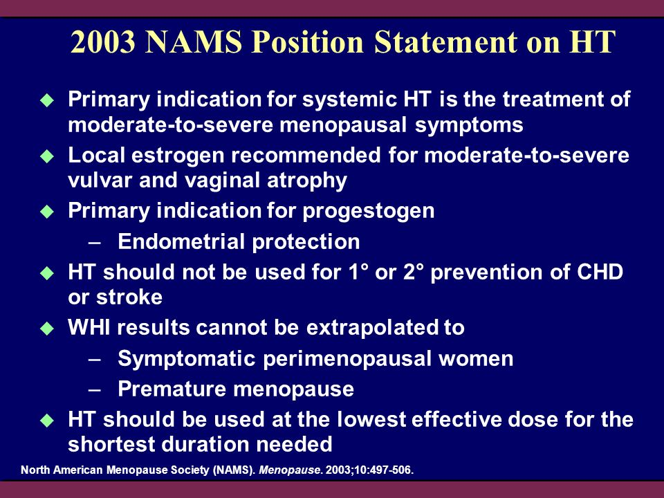2003 NAMS Position Statement on HT