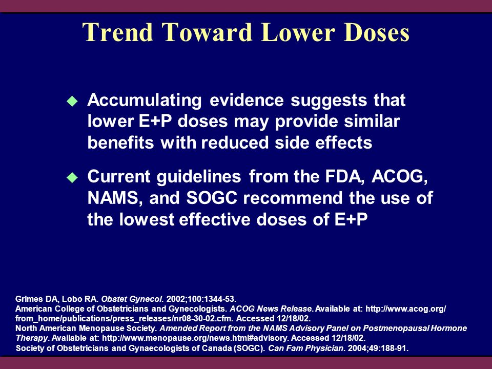 Trend Toward Lower Doses