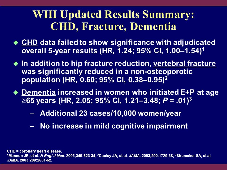 WHI Updated Results Summary: CHD, Fracture, Dementia