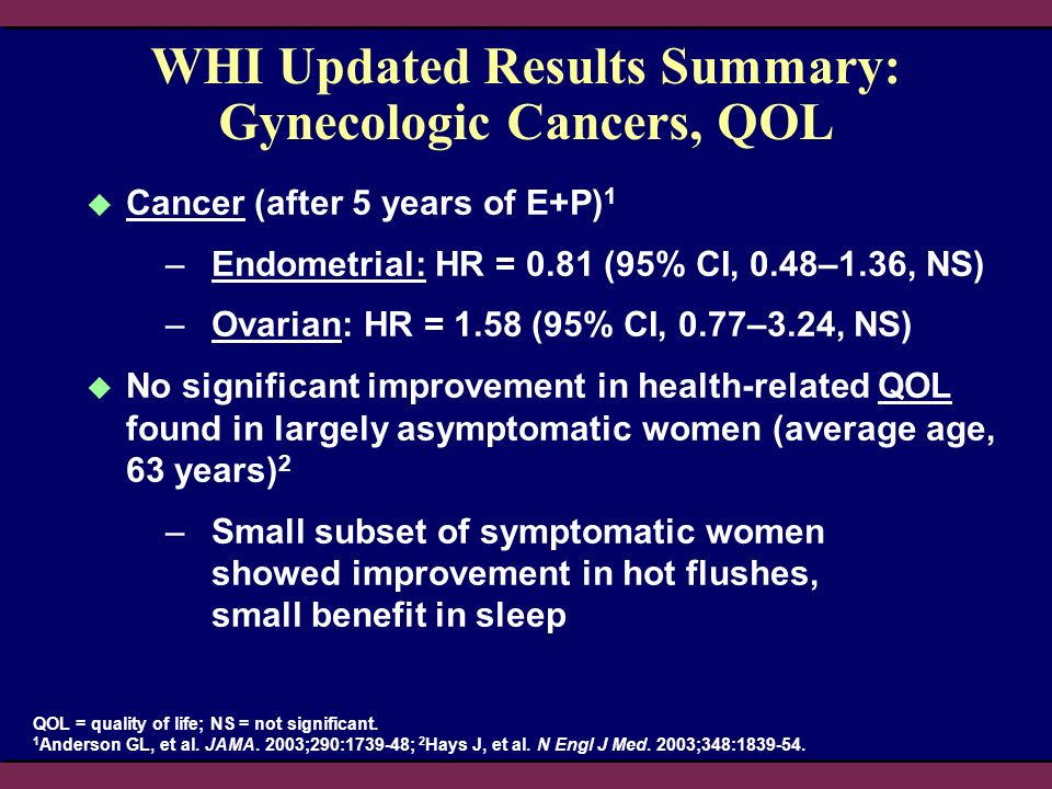 WHI Updated Results Summary: Gynecologic Cancers, QOL