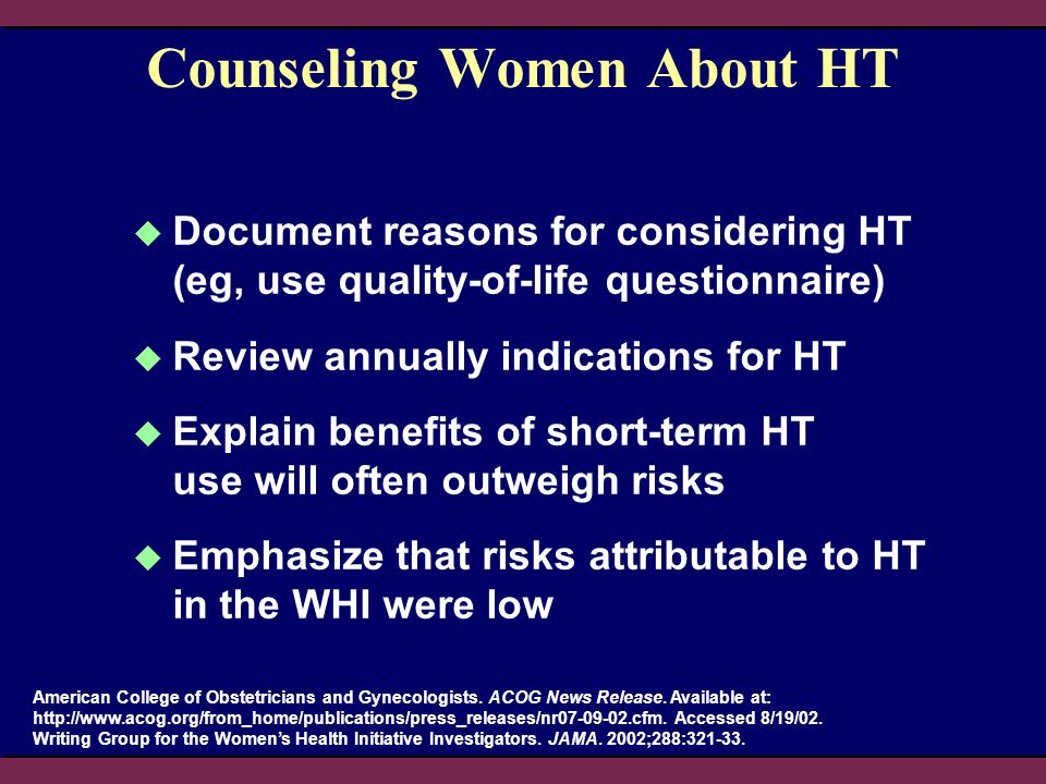Counseling Women About HT