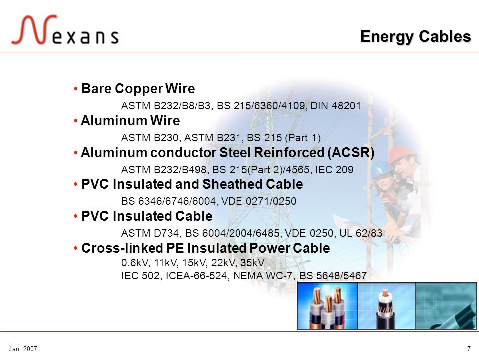 Energy CablesBare Copper Wire ASTM B232/B8/B3, BS 215/6360/4109, DIN 48201. Aluminum Wire ASTM B230, ASTM B231, BS 215 (Part 1)