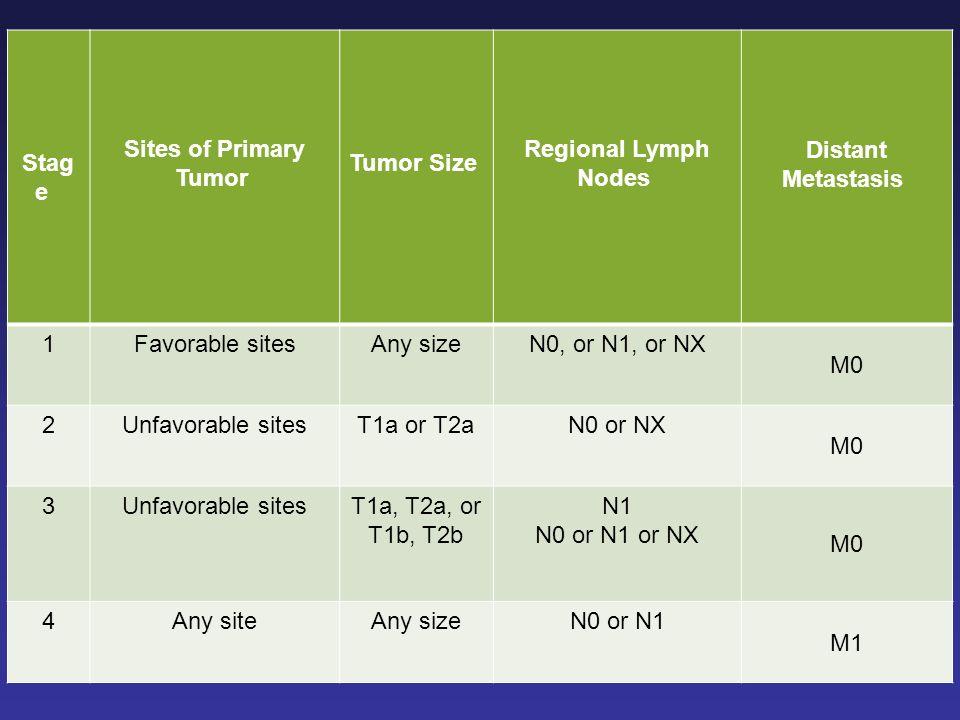 Distant Metastasis Regional Lymph Nodes Tumor Size Sites of Primary Tumor Stage M0. N0, or N1, or NX.
