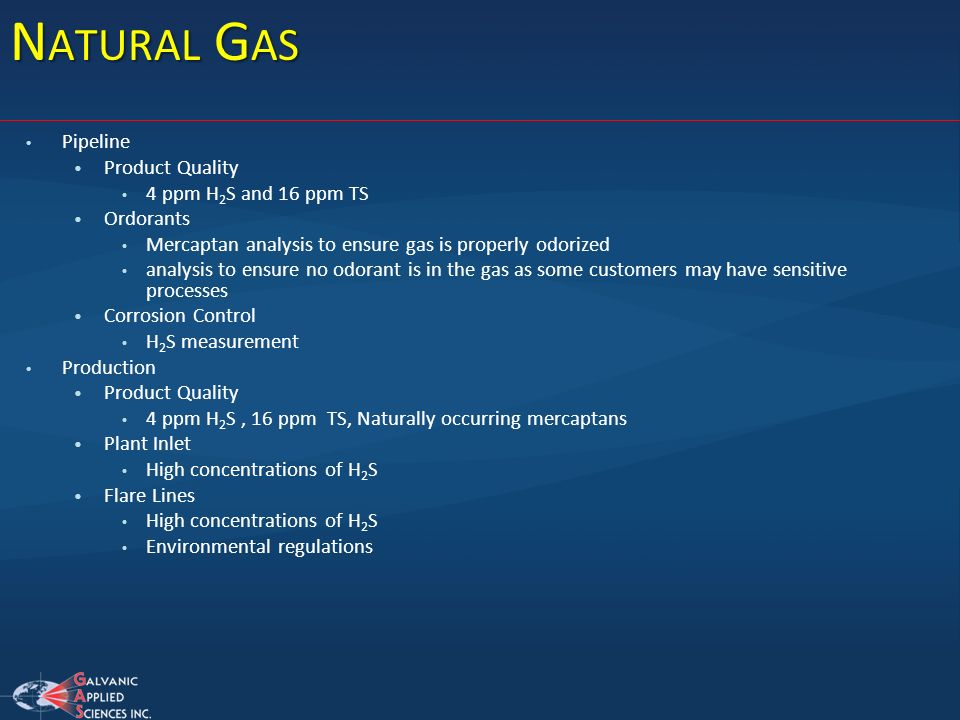 Natural Gas Pipeline Product Quality 4 ppm H2S and 16 ppm TS Ordorants