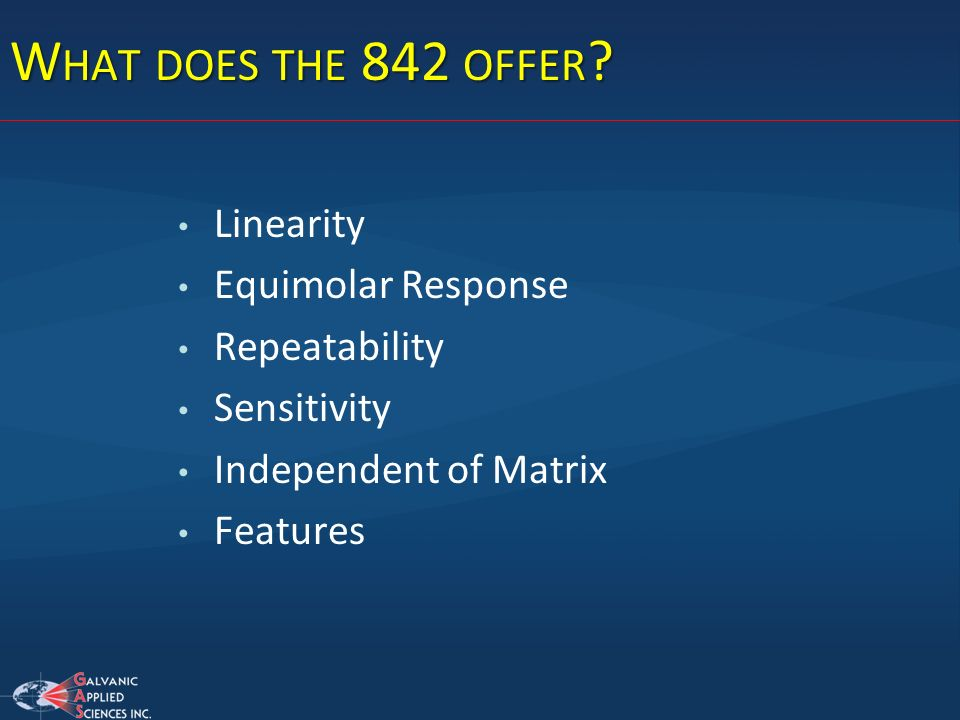 What does the 842 offer Linearity Equimolar Response Repeatability