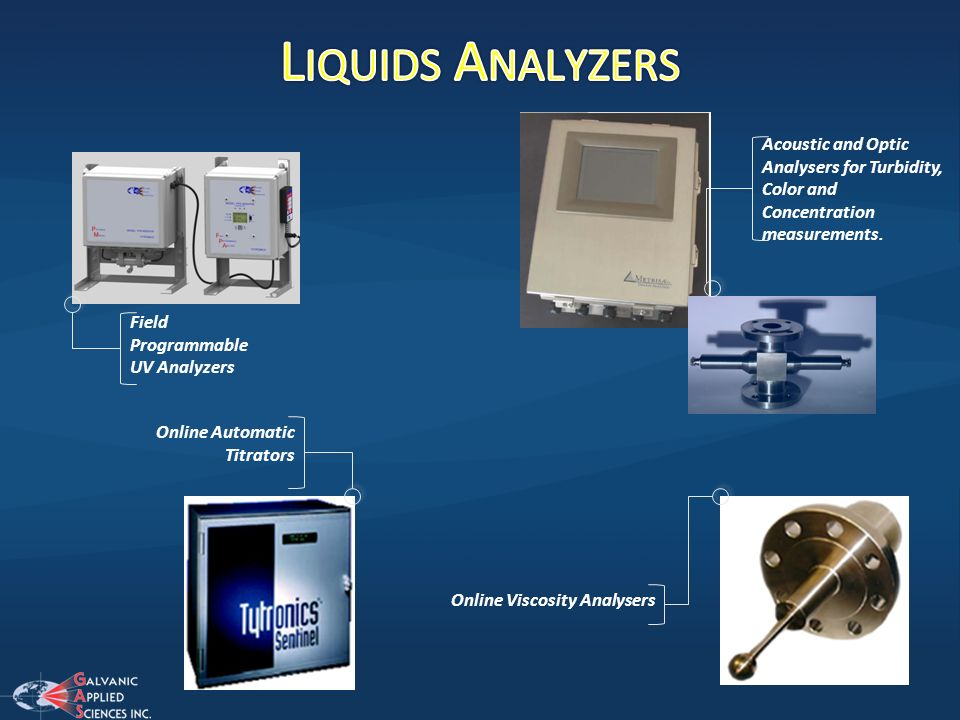 Liquids Analyzers Acoustic and Optic Analysers for Turbidity, Color and Concentration measurements.