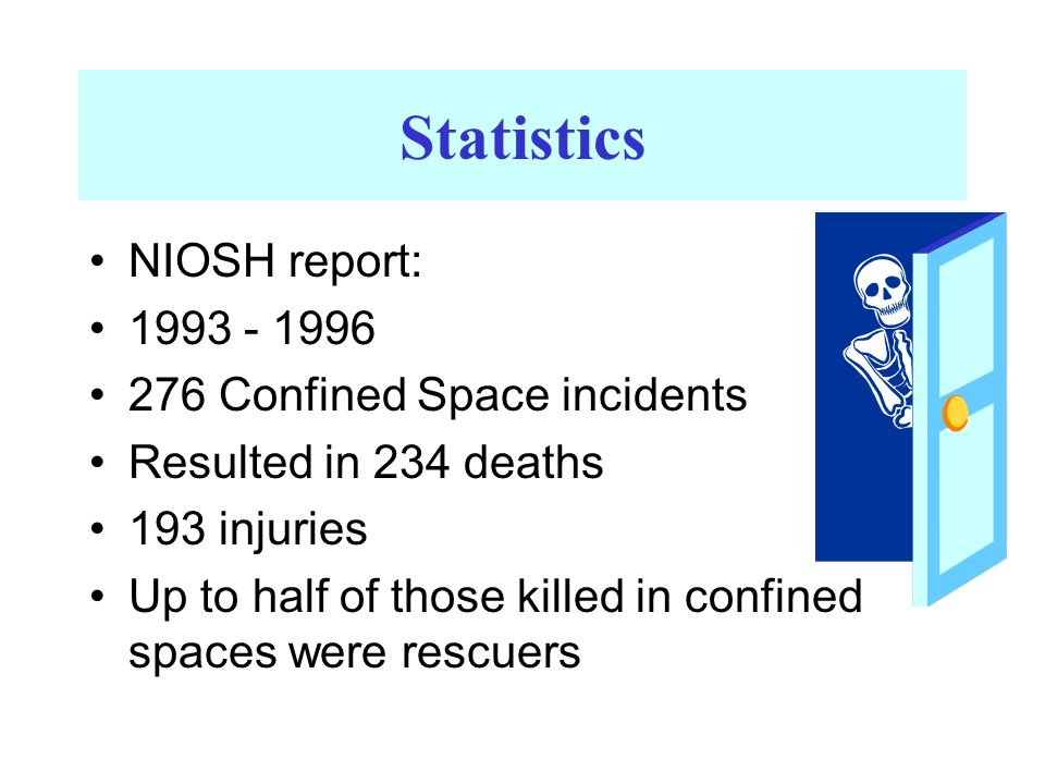 Statistics NIOSH report: 1993 - 1996 276 Confined Space incidents