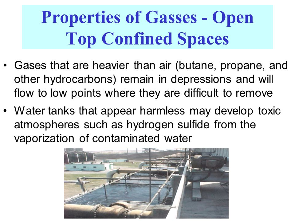 Properties of Gasses - Open Top Confined Spaces