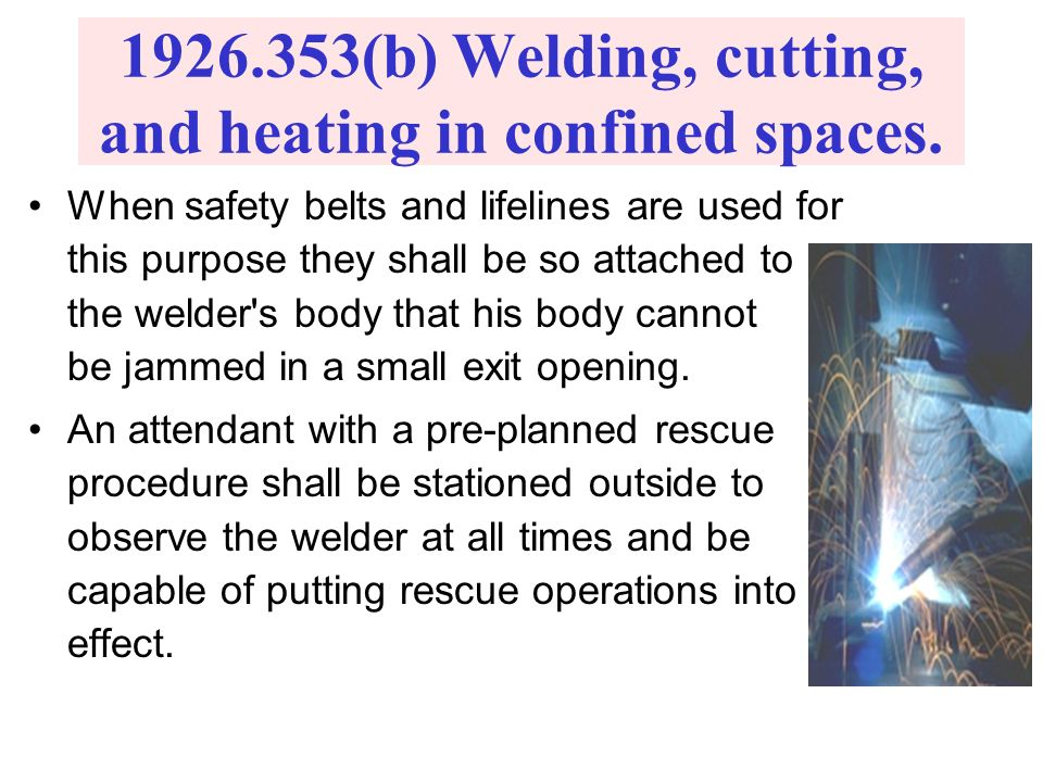 (b) Welding, cutting, and heating in confined spaces.
