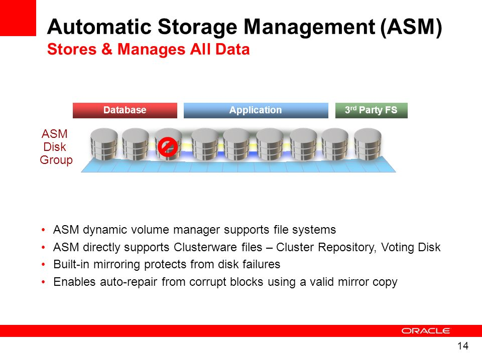 Automatic Storage Management (ASM) Stores & Manages All Data